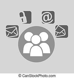 sociaal, media, tekstballonetje, groep