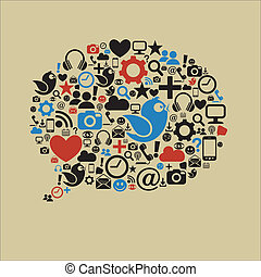 sociaal, media, tekstballonetje, plat