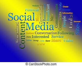 sociaal, media, verwant, tekst