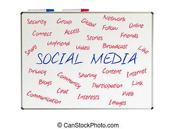 sociaal, media, woord, wolk, geschreven, op, een, whiteboard