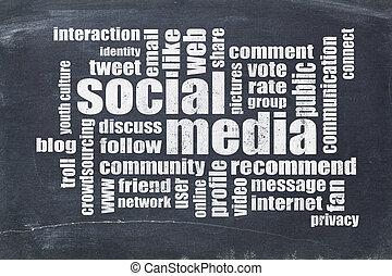 sociaal, media, woord, wolk, op, bord