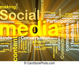 sociaal, media, wordcloud, gloeiend
