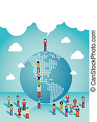 sociaal, netten, mensen, groei, in, de amerika's