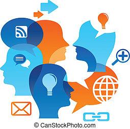 sociaal, netwerk, backgound, met, media, iconen