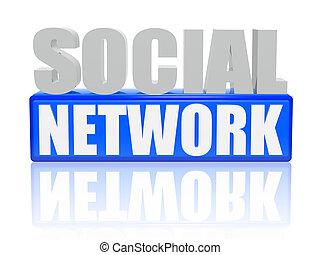 sociaal, netwerk, -, brieven, en, blokje