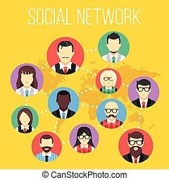 sociaal, netwerk, concept