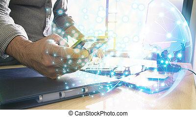 sociaal, netwerk, concept., globaal net, op, smartphone.