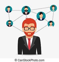 sociaal, netwerk, design.