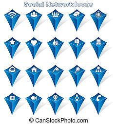 sociaal, netwerk, iconen