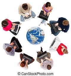sociaal, netwerk, leden, gezien, van boven