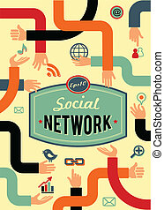 sociaal, netwerk, media, en, communicatie, in, ouderwetse ,...