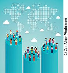 sociaal, netwerk, mensen, globaal, groei