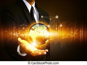 sociaal, netwerk, met, globe