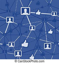 sociaal, netwerk, seamless