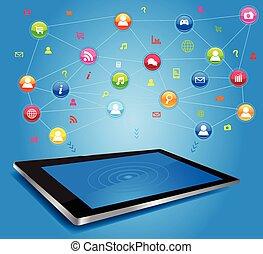 sociaal, netwerk, tablet, digitale