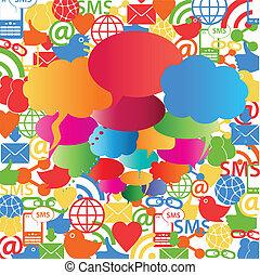 sociaal, netwerk, toespraak, bellen