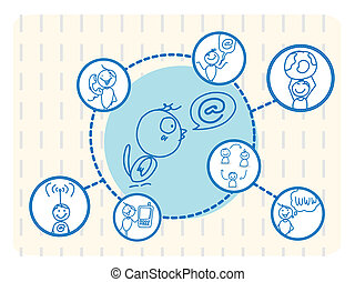 sociaal, netwerk, vogel