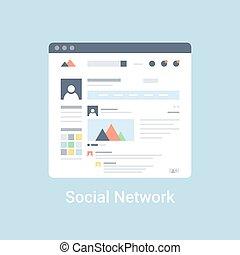sociaal, netwerk, wireframe