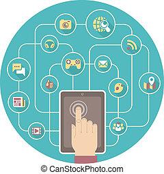 sociaal, networking, door, tablet