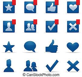 sociaal, networking, iconen