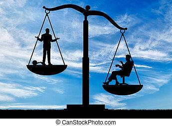 sociaal, ongelijkheid, tussen, rijk, arme mensen