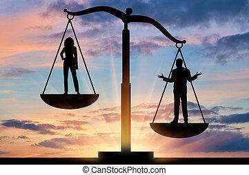 sociaal, ongelijkheid, tussen, vrouwen en mannen