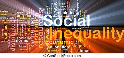 sociaal, ongelijkheid, wordcloud, concept, illustratie, gloeiend