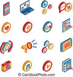 sociaal, pictogram, netwerk, set, isometric
