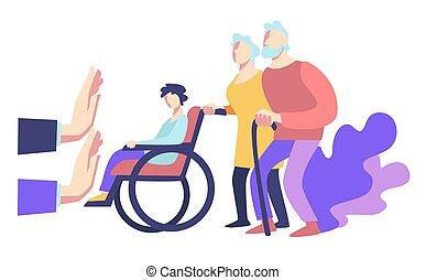 sociaal, publiek, bejaarden, weigering, gehandicapte mensen, helpen, violence