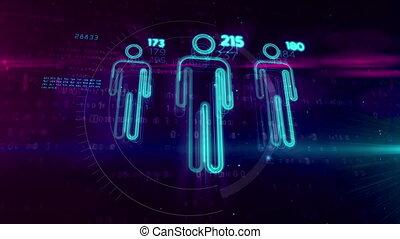 sociaal, scoren, hologram, concept