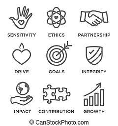 sociaal, verantwoordelijkheidsgevoel, schets, pictogram, set