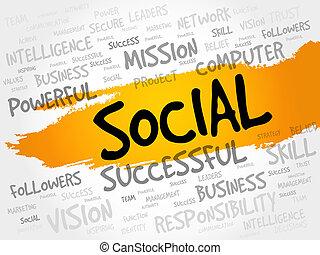 sociaal, woord, wolk