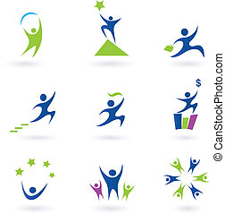 sociaal, zakelijk, succes, iconen