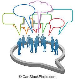 sociaal, zakenlui, netwerk, binnen, tekstballonetje