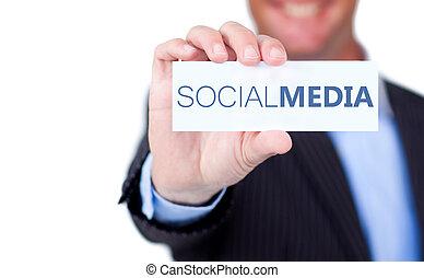 social, écrit, il, tenue, média, étiquette, homme affaires