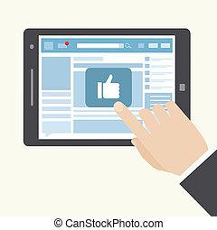 social, ícone, semelhante, rede
