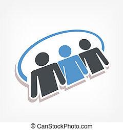 social,  3D, icono, gente