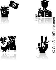 Social activism drop shadow black glyph icons set