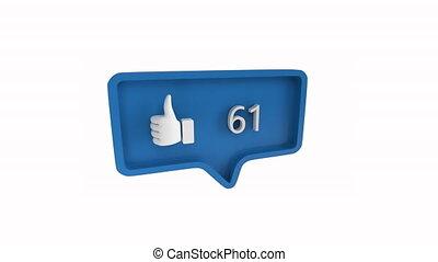 social, aimer, icône, nombres, média, augmenter