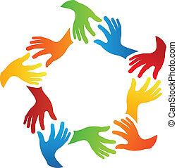 social, amis, mains
