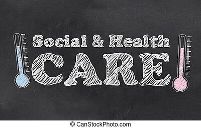 Social and Health Care on Blackboard with Thermometres