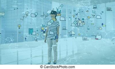 social, animation, caucasien, sur, vr, casque à écouteurs, femme, flotter, icônes, porter