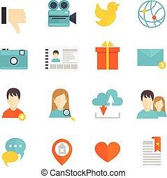 social, apartamento, jogo, ícones