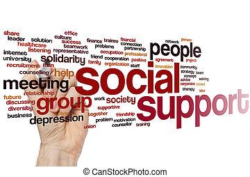 social, apoio, palavra, nuvem