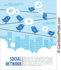 social, aves, red, plano de fondo, iconos