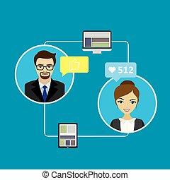 social, bavarder, gens, réseaux