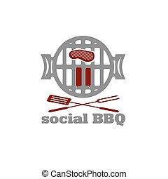 social bbq concept vector design template