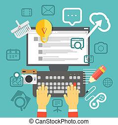social, begrepp, media, nymodig, fönster, interface., ...