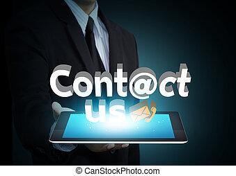 social, begrepp, nätverk, oss, kontakta