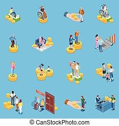 Social Benefits Icon Set - Social security unemployment ...